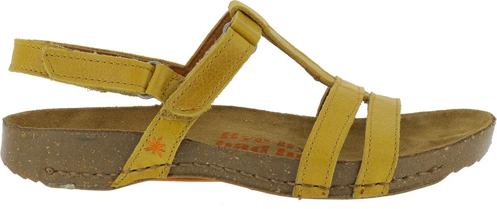 d4f9da70c6e7 Gul ART sandal i læder - velcrolukning i hæl - Memphis Sun