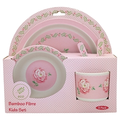 Bamboo kids dinner set of 4 pcs Lily petit white