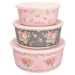 Round bamboo box Marley pale pink set of 3