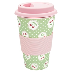 Bamboo travel mug Cherry berry p. green