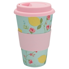 Bamboo travel mug Limona pale blue