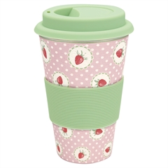 Bamboo travel mug Strawberry pale pink