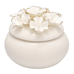 Jewelry box Flower white w/gold small