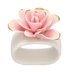 Napkin ring Flower pale pink w/gold