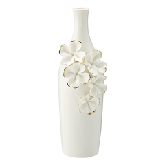 Vase Flower white w/gold slim