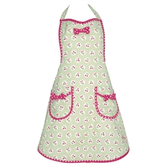 Apron Cherry berry p.green w/bow