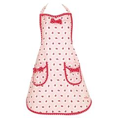 Apron Strawberry pale pink w/bow