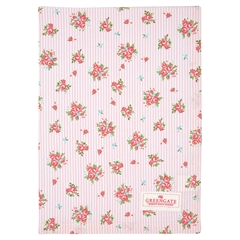 Tea towel Abigail stripe pale pink