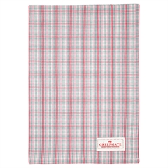 Tea towel Beth check raspberry