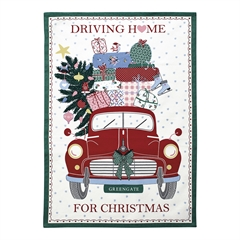 Tea towel Christmas car red pieceprinted