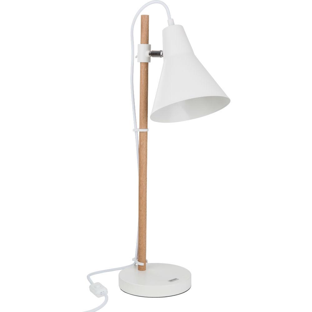 Fantastisk Bordlampe i metal og træ i et enkelt hvidt design - ERNST HO26