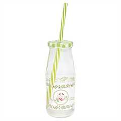 Bottle Lily petit white w/lid and straw