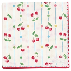 Papirservietter Greengate Cherry white - 20 stk. lille