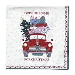 Napkin Christmas Car red small 20pcs