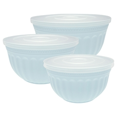 Bowl w/lid Alice pale blue set of 3