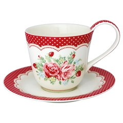 Cup & saucer Mary white