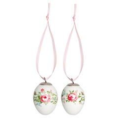 Decorative egg Gabby white set of 2 hanging