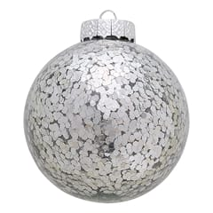 Ball glass Flora sparkling silver