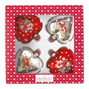 GreenGate Ball Heart Abelone red & silver - 4 stk.
