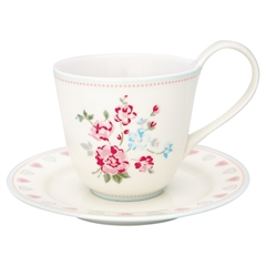 Cup and saucer Sonia white
