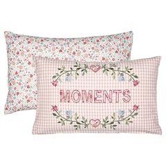 Cushion Moments pale pink w/embroidery 30x50cm